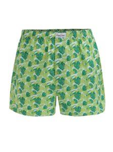 Zelené pánske trenírky s potlačou listov Happy Socks Jungle
