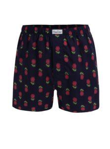 Tmavomodré trenírky s potlačou ananásov Happy Socks Pineapple