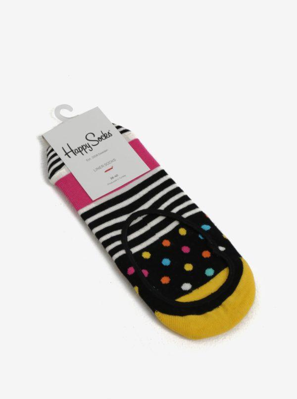 Čierne dámske nízke ponožky Happy Socks Stripes Dots Liner
