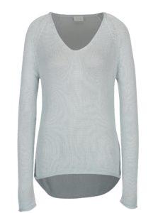 Svetlomodrý sveter s véčkovým výstrihom VILA Tobina