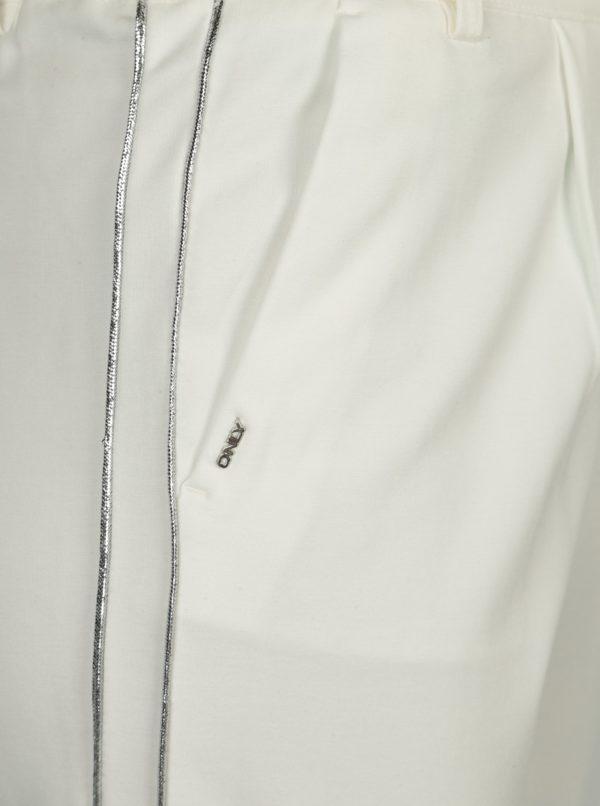 Krémové nohavice s pruhmi v striebornej farbe ONLY Poptrash