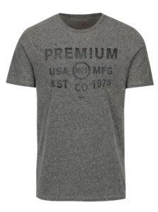 Sivé melírované tričko s potlačou Jack & Jones Tokyo
