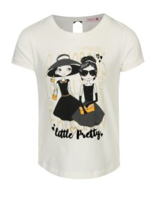 Krémové dievčenské tričko s potlačou a mašľami na chrbte Bóboli