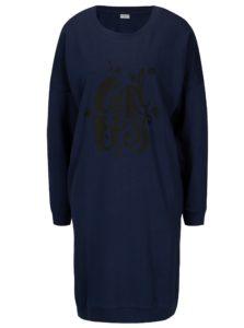 Tmavomodré mikinové šaty s potlačou Jacqueline de Yong Newton