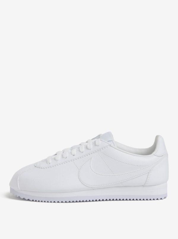 Biele pánske kožené tenisky Nike Classic Cortez