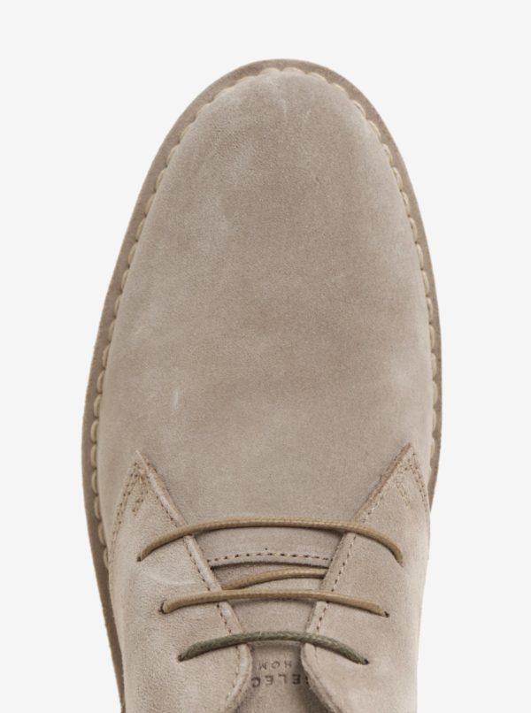 Béžové semišové členkové topánky Selected Homme Royce