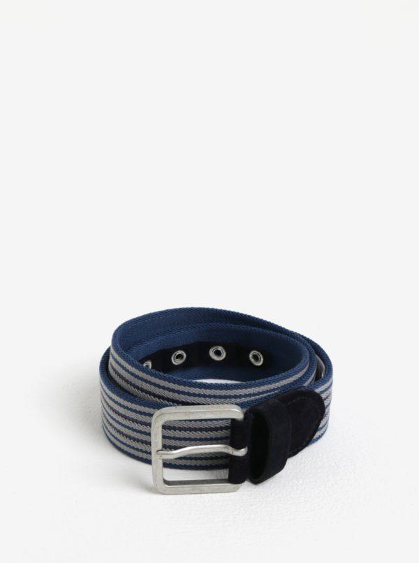 Modrý pruhovaný opasok so semišovými detailmi Selected Homme Spie