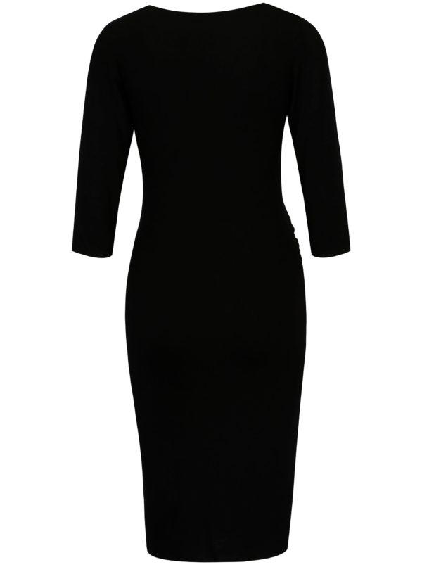 Čierne tehotenské šaty s 3/4 rukávom Dorothy Perkins Maternity