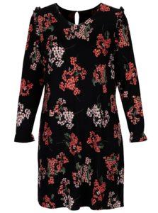Čierne kvetované šaty s volánmi na ramenách Dorothy Perkins Curve