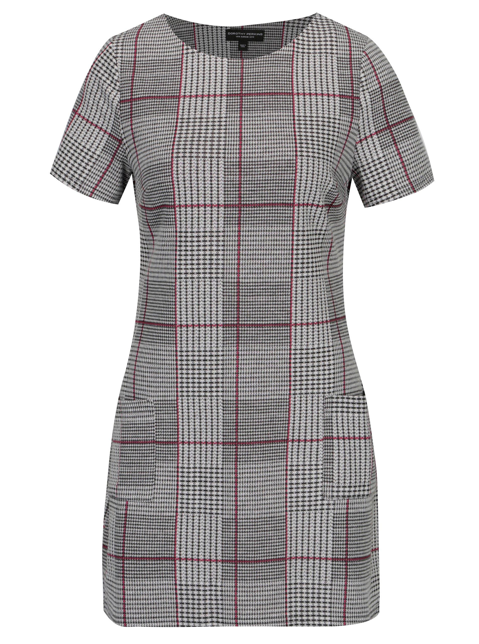 654963765632 Čierno–biele kockované šaty s vreckami Dorothy Perkins