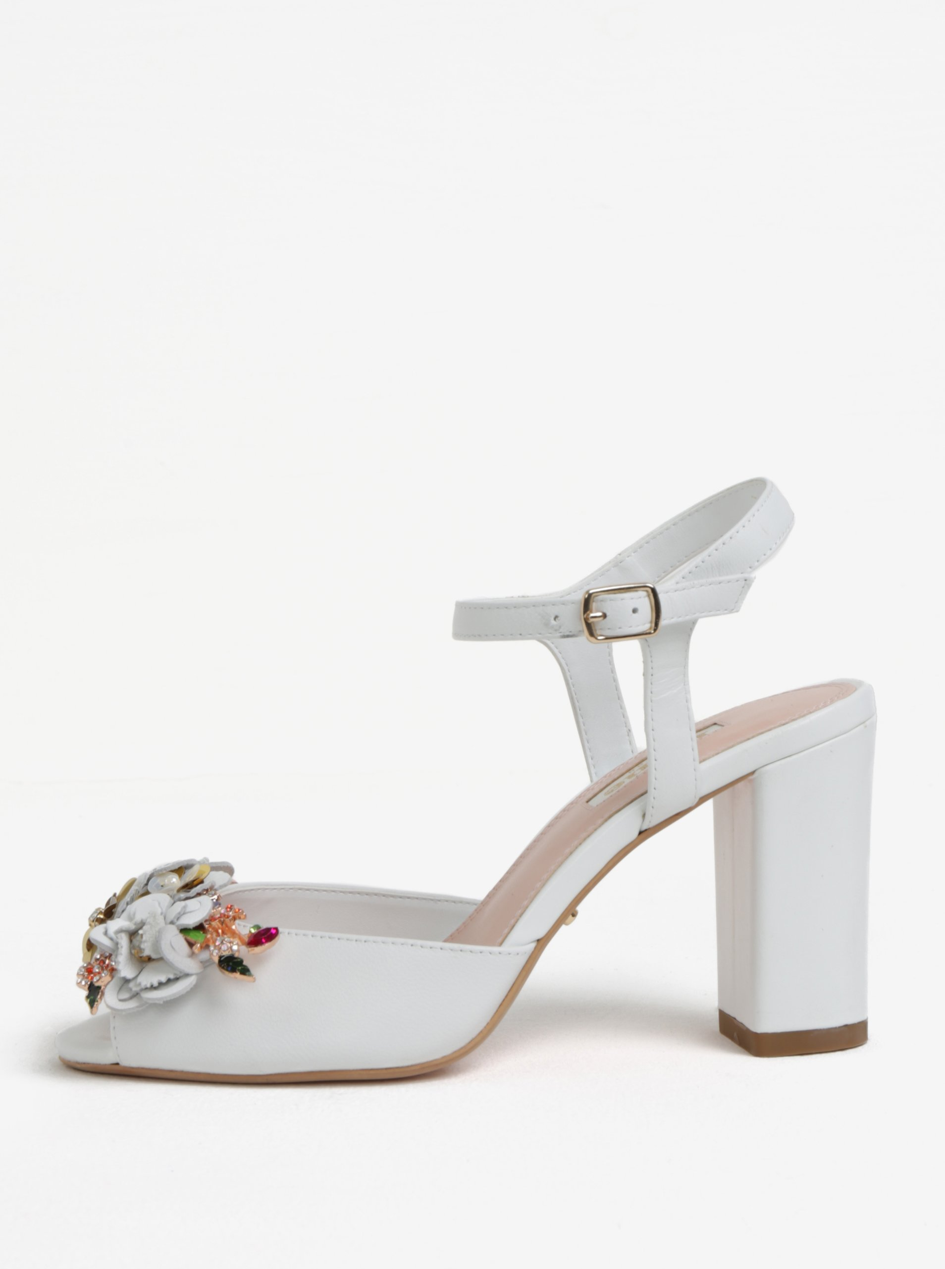 4c26d0632 Biele kožené sandáliky na podpätku Dune London Mackaya | Moda.sk