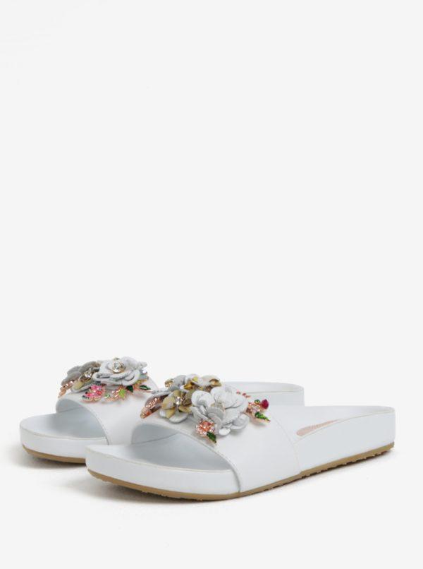 Biele dámske kožené šľapky s kvetinovou ozdobou Dune London Laelia