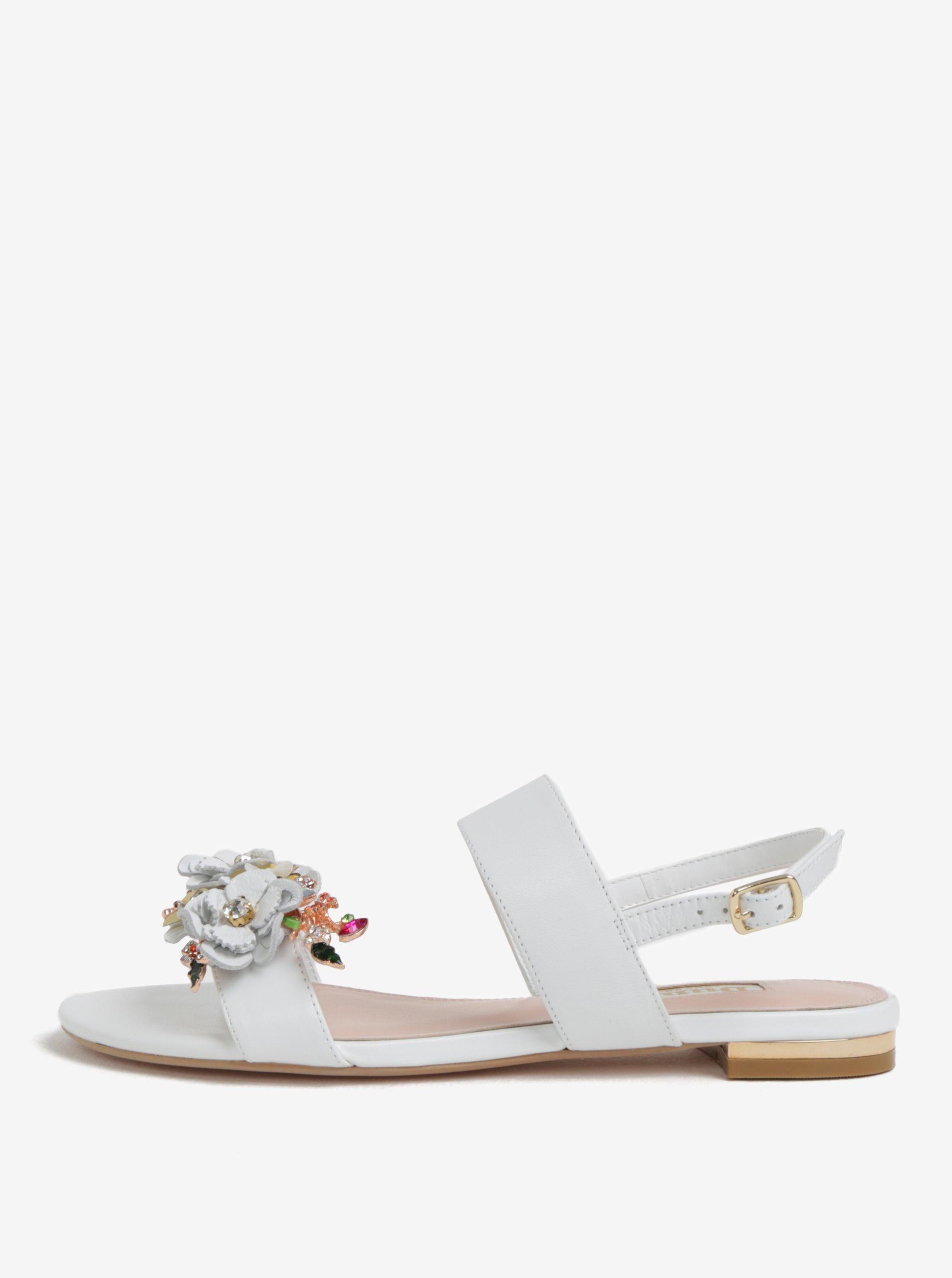 4822e96b0345 Biele kožené sandáliky s kvetinovou ozdobou Dune London Kiko