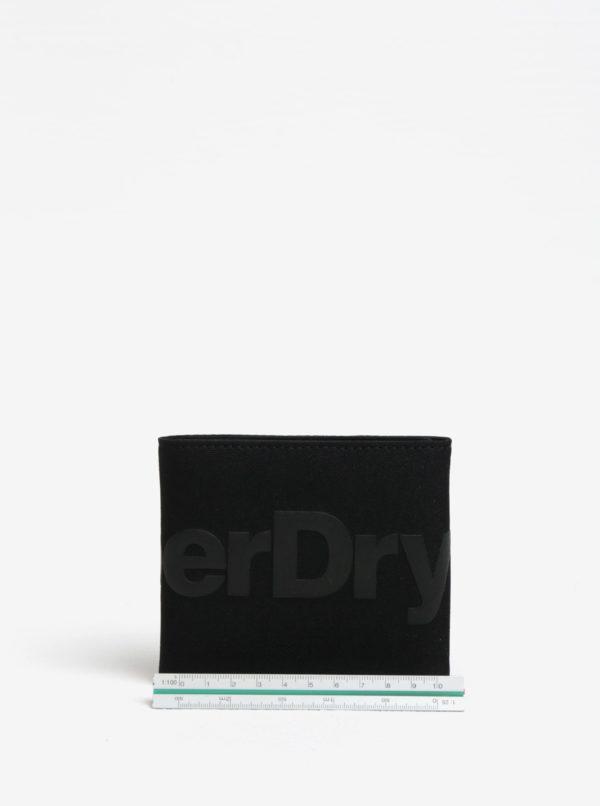 Čierna peňaženka s potlačou a nášivkou Superdry Wallet