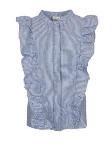 Bielo-modrá dievčenská ľanová pruhovaná košeľa bez rukávov name it Dana