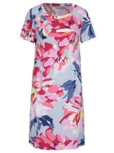 Modro–ružové dámske kvetované šaty s krátkym rukávom Tom Joule