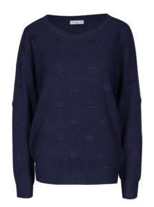 Tmavomodrý bodkovaný sveter Jacqueline de Yong Rosie