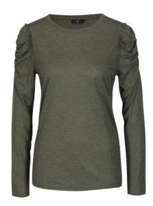 Tmavozelené tričko s riasením na ramenách Jacqueline de Yong Fanny