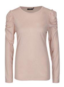 Svetloružové tričko s riasením na ramenách Jacqueline de Yong Fanny