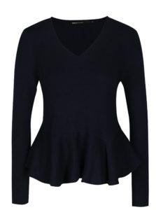Tmavomodrý krátky sveter s volánom ONLY Rosana