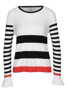 Krémové pruhované tričko s volánmi ONLY Laura