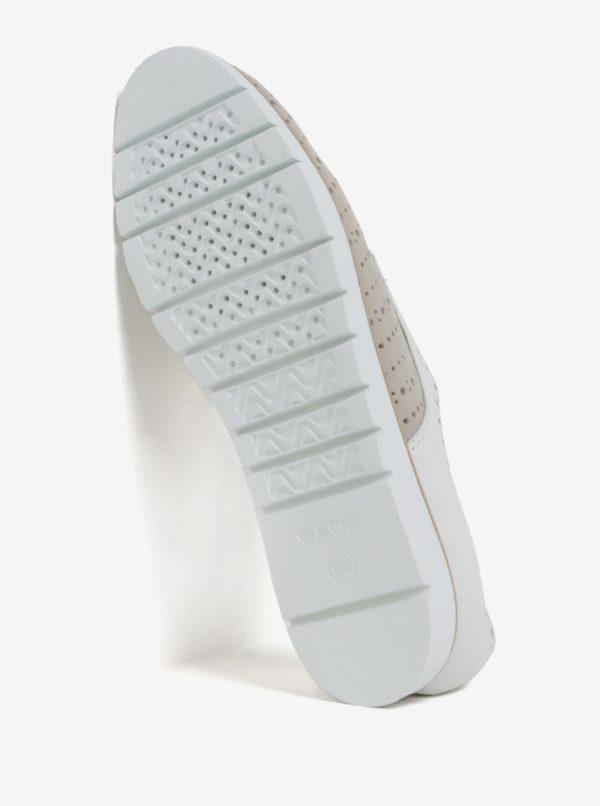 Bielo-béžové dámske kožené poltopánky Geox Kookean