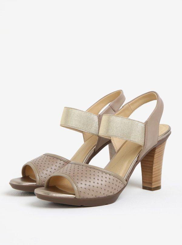 Béžové dámske kožené sandále na podpätku Geox Jadalis