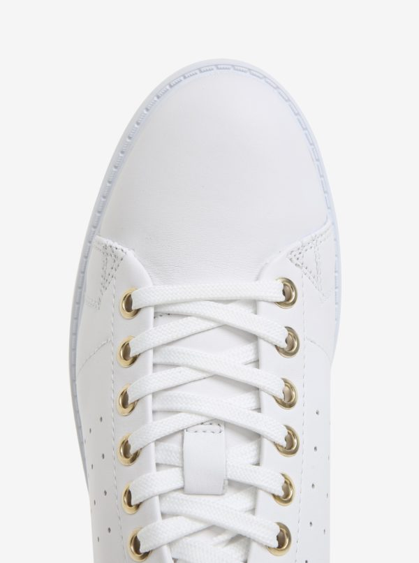Biele dámske kožené tenisky Geox Nappa