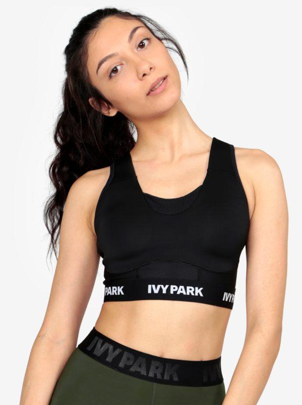 Čierna športová podprsenka so sieťovanými časťami Ivy Park