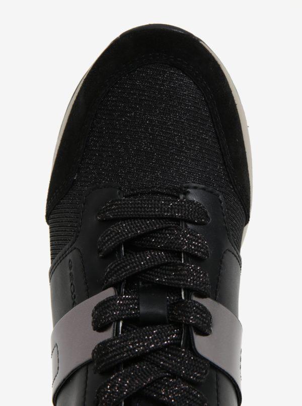 Čierne dámske tenisky v semišovej úprave Geox Deynna  e07c0eb806