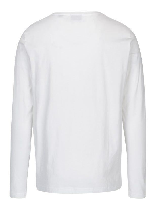 Biele pánske regular tričko s dlhým rukávom GANT