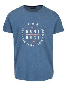 Modré pánske melírované tričko s potlačou GANT