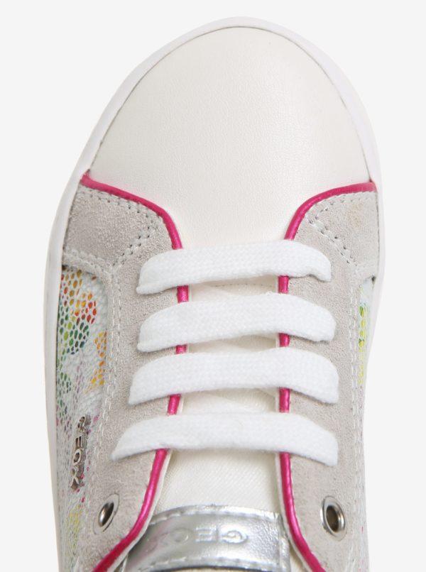 Krémové dievčenské kožené tenisky Geox Kilwi