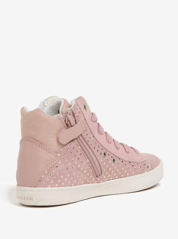 Ružové dievčenské semišové členkové tenisky Geox Kilwi
