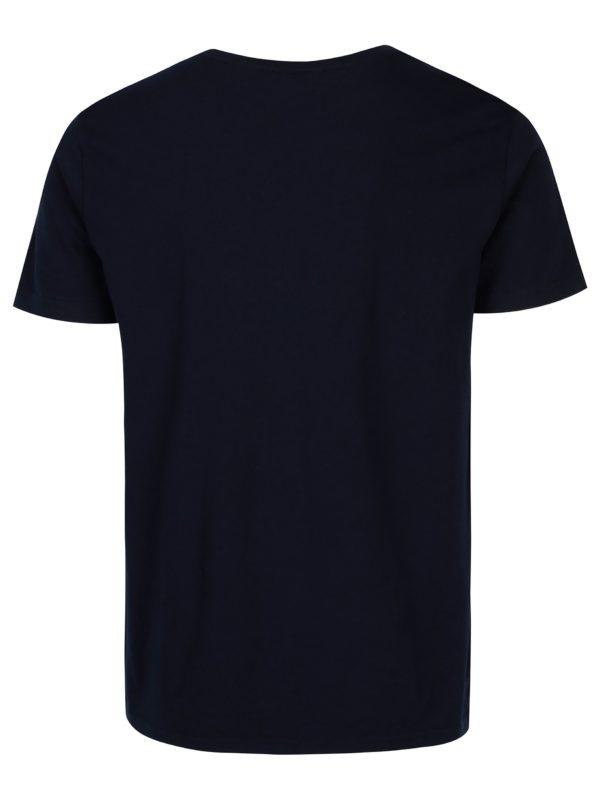 Tmavomodré pánske tričko s krátkym rukávom a potlačou loga GANT