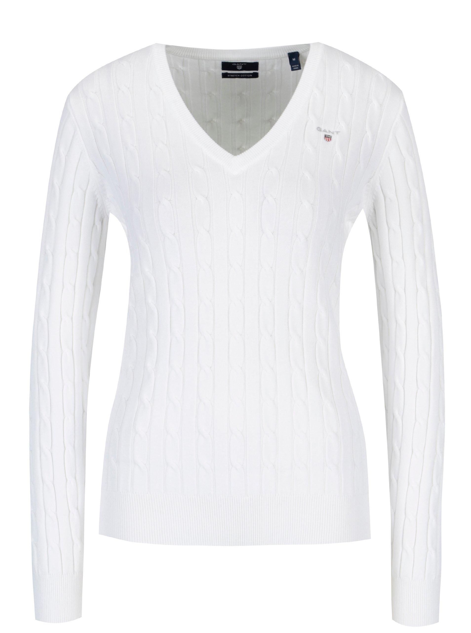 70813a9f0650 Biely dámsky pletený sveter s véčkovým výstrihom GANT