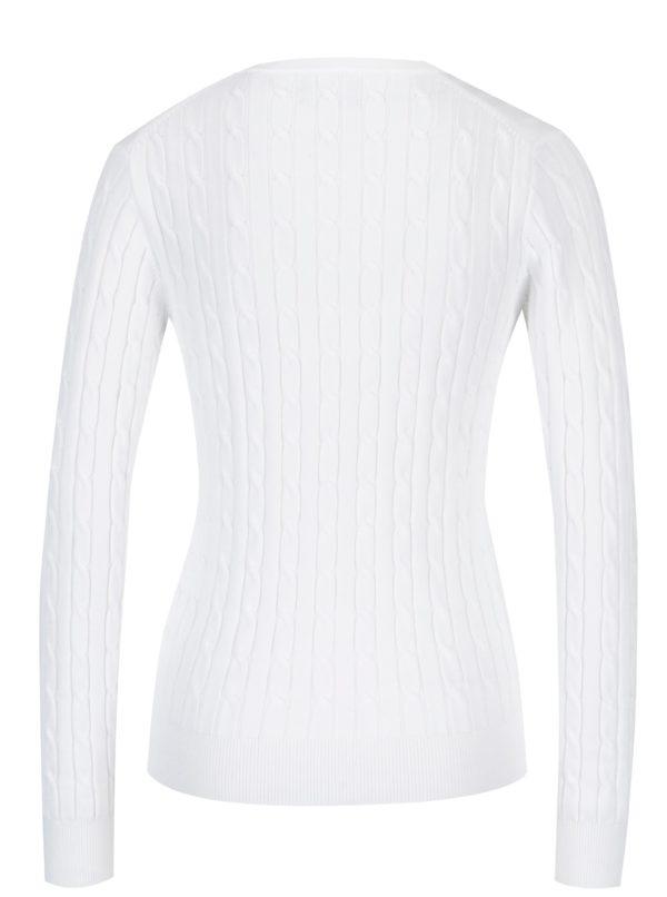 6815a5d0be8b Biely dámsky pletený sveter s véčkovým výstrihom GANT