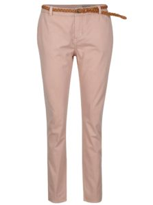 Ružové chino nohavice s opaskom VERO MODA Flame