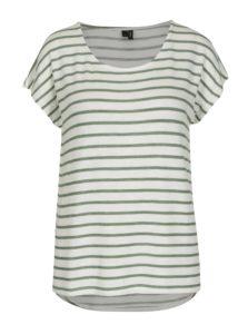 Zeleno-krémové pruhované tričko VERO MODA Wide