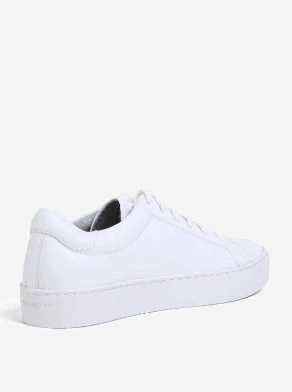 Biele dámske kožené tenisky na platforme Vagabond Zoe