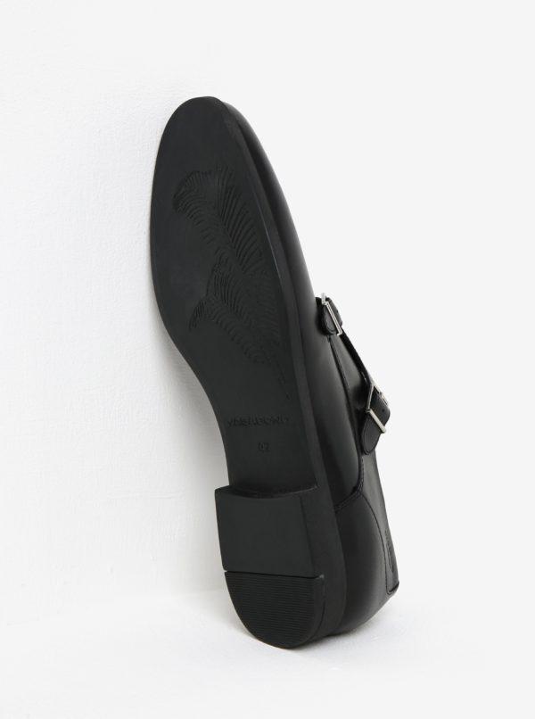 Čierne pánske kožené poltopánky s prackami Vagabond Linhope