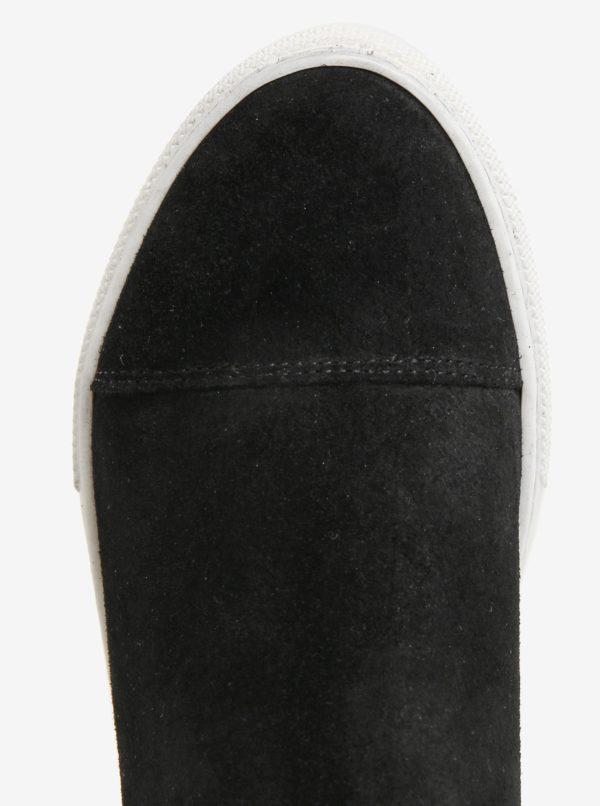 Čierne semišové chelsea topánky na platforme OJJU UVE-TXB