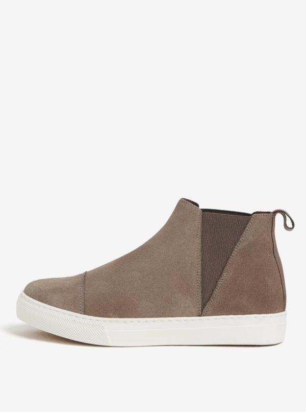 Hnedé semišové chelsea topánky na platforme OJJU UVE-TXB