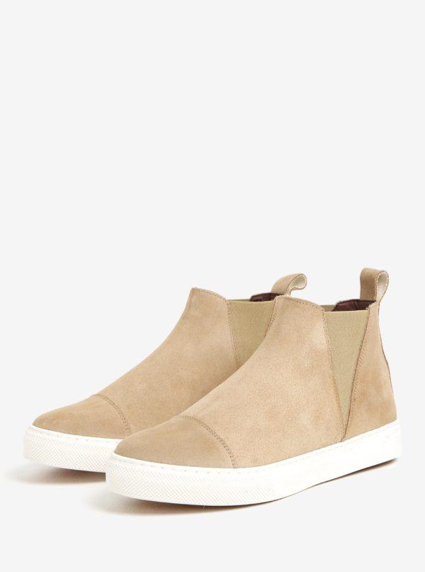 Béžové semišové chelsea topánky na platforme OJJU UVE-TXB