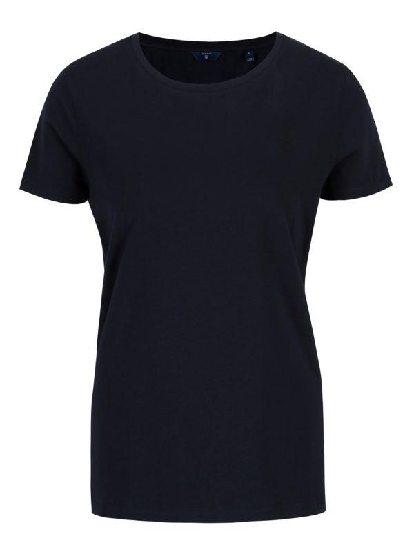 Tmavomodré dámske basic tričko s krátkym rukávom GANT