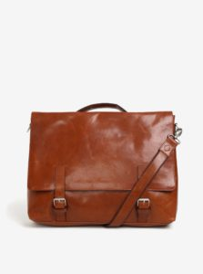Svetlohnedá pánska kožená taška na notebook Royal RepubliQ Omega