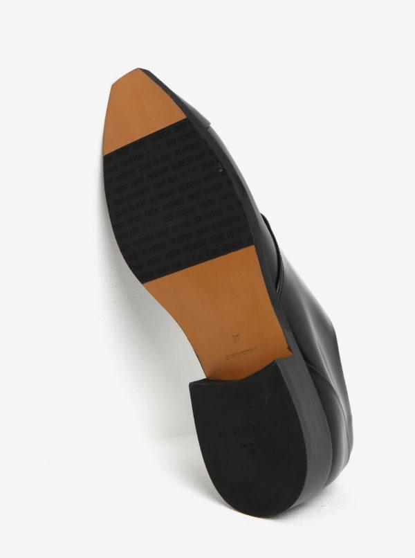 Čierne dámske kožené poltopánky s lesklými detailmi Royal RepubliQ