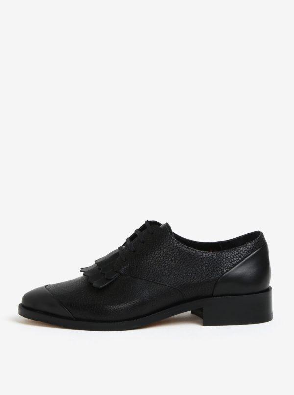 Čierne dámske kožené poltopánky so strapcami Royal RepubliQ