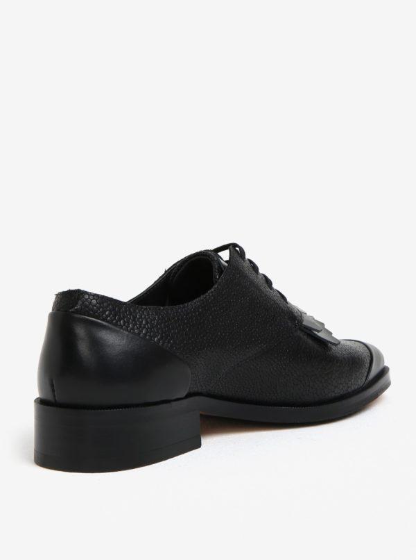 4442595131545 Čierne dámske kožené poltopánky so strapcami Royal RepubliQ | Moda.sk
