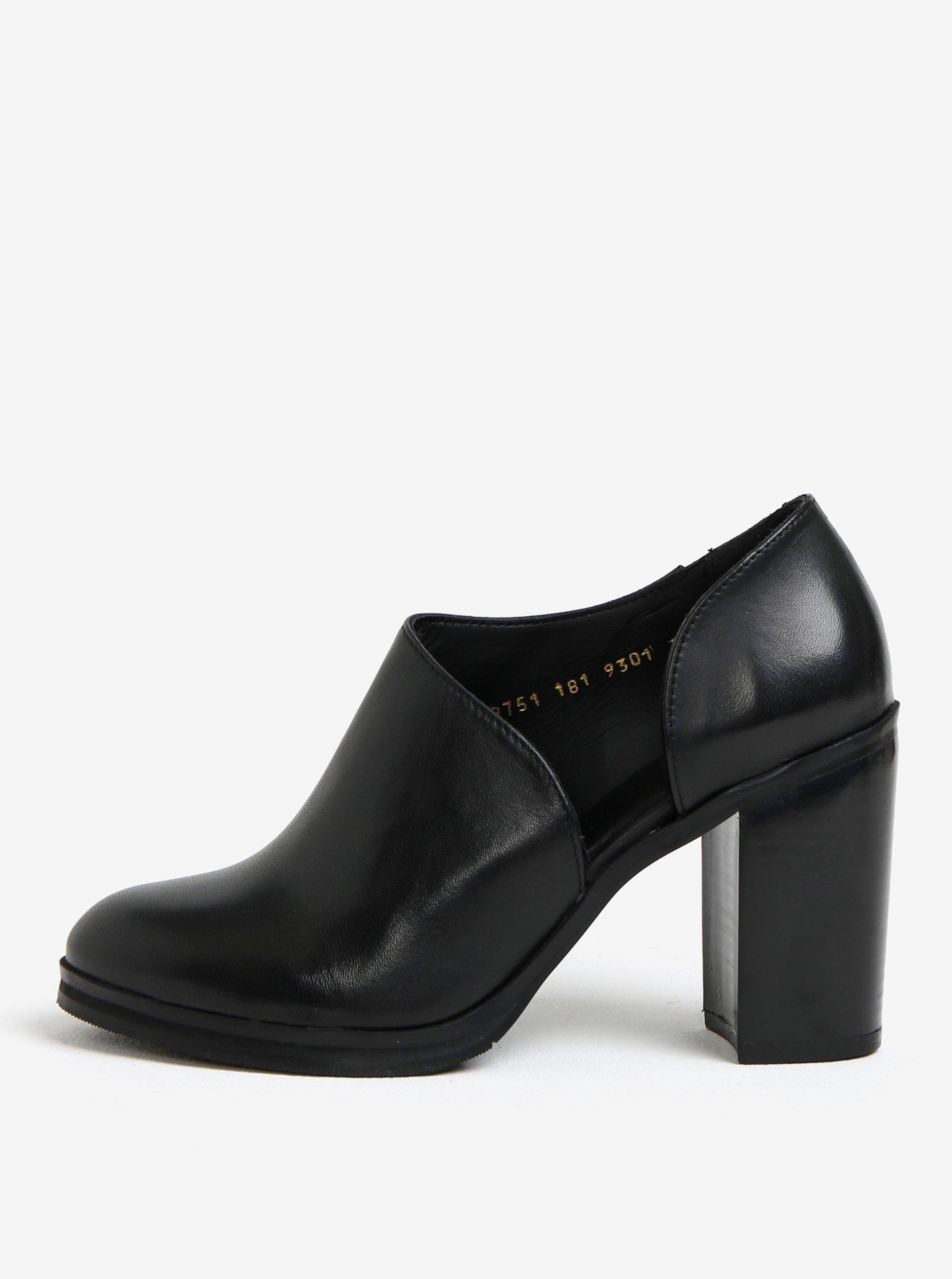 9ce0820c44de6 Čierne dámske kožené topánky na vysokom podpätku Royal RepubliQ ...